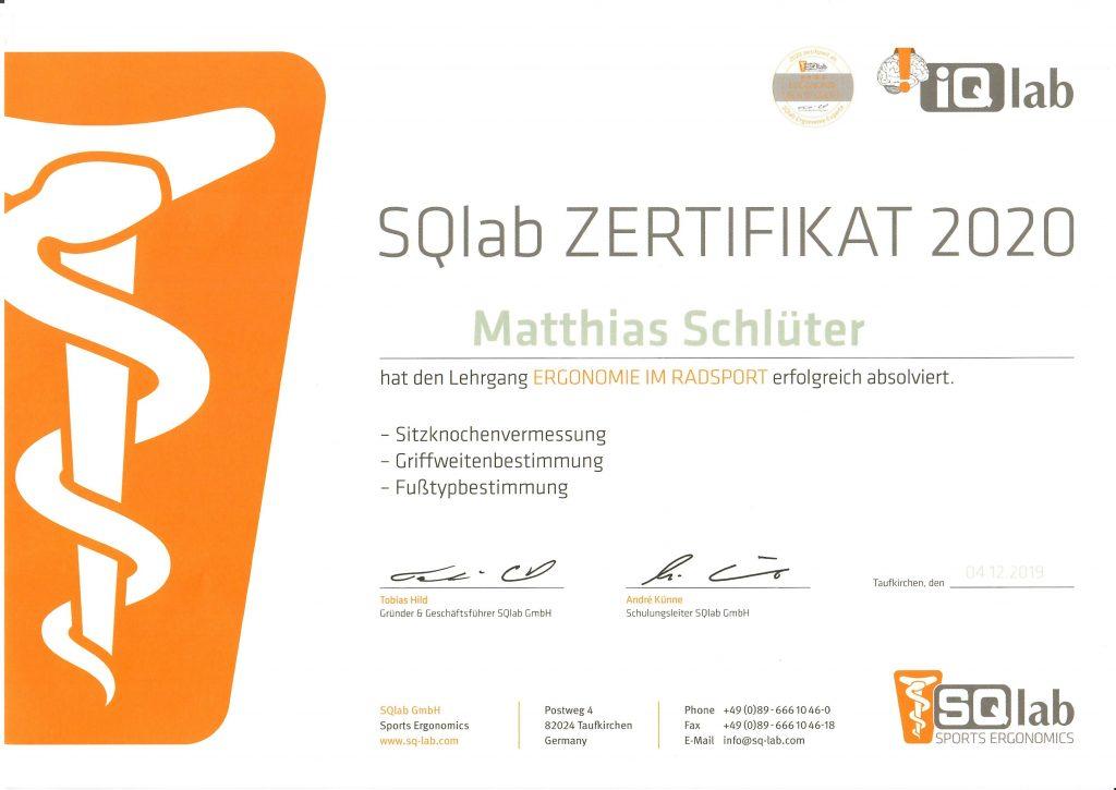 SQlab Zertifikat Ergonomie im Radsport